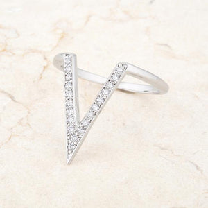 Michelle 0.2ct CZ Rhodium Delicate V-Shape Ring