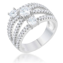 Load image into Gallery viewer, Beatrice 1.8ct CZ Rhodium Statement Ring