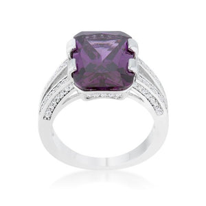 Rema 8.6ct Amethyst CZ Rhodium Emerald Classic Cocktail Ring