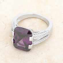 Load image into Gallery viewer, Rema 8.6ct Amethyst CZ Rhodium Emerald Classic Cocktail Ring