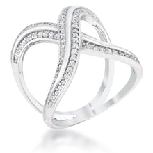 Load image into Gallery viewer, Christa 0.4ct CZ Rhodium Pave X Ring
