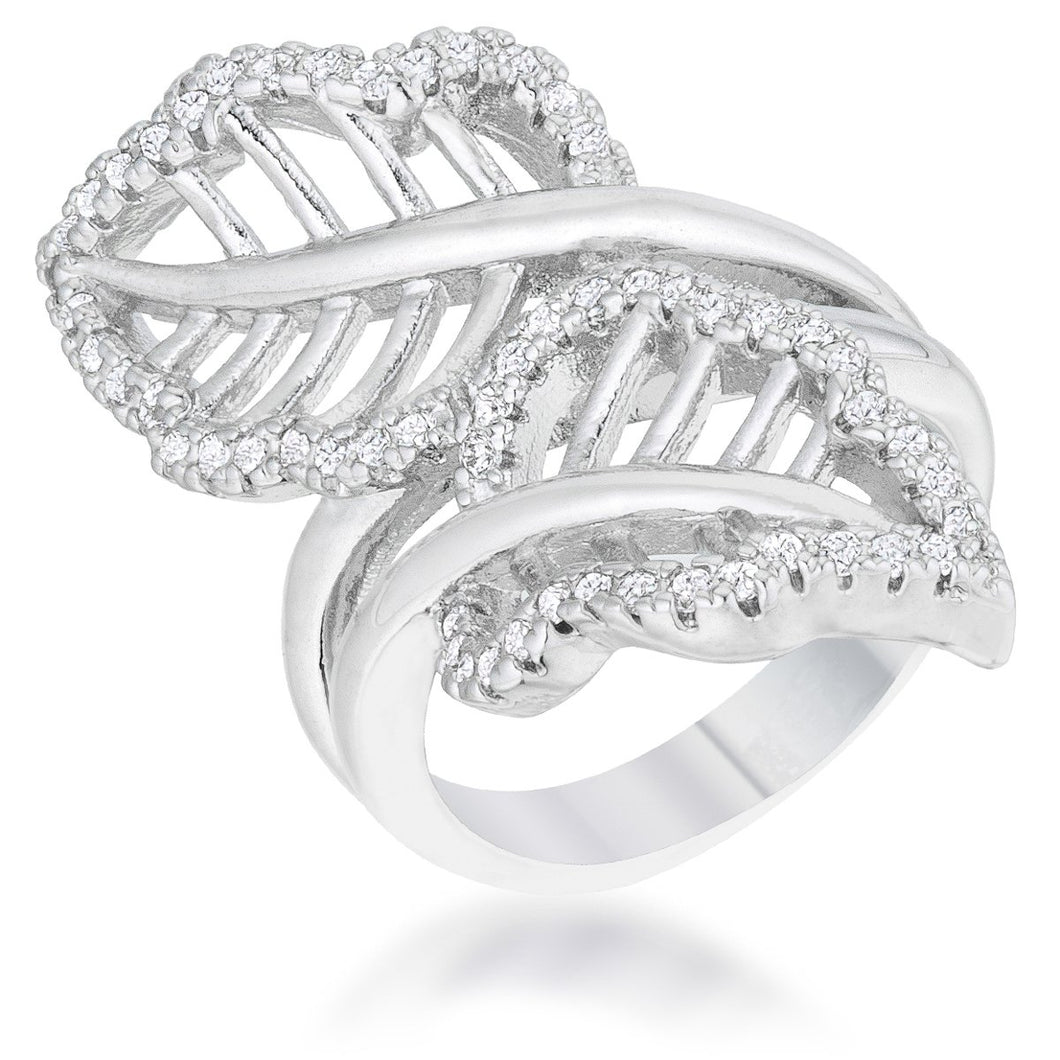 Lina 0.4ct CZ Rhodium Leaf Wrap Ring