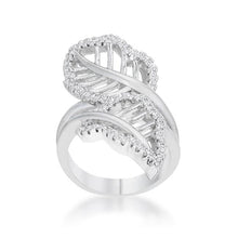 Load image into Gallery viewer, Lina 0.4ct CZ Rhodium Leaf Wrap Ring