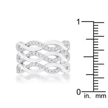 Load image into Gallery viewer, Contemporary 0.88ct CZ Rhodium Twist Wide Cocktail Ring
