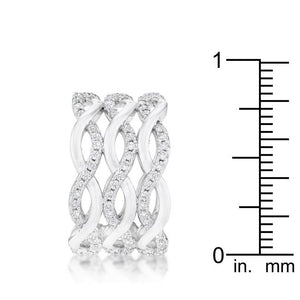 Contemporary 0.88ct CZ Rhodium Twist Wide Cocktail Ring