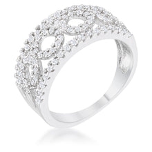 Load image into Gallery viewer, Rina 0.5ct CZ Rhodium Contemporary Band Ring