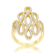Load image into Gallery viewer, Natasha 0.94ct CZ 14k Gold Contemporary Cocktail Ring