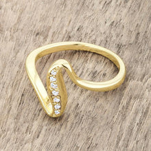 Load image into Gallery viewer, Sheryl 0.07ct CZ 14k Gold Simple Wave Ring