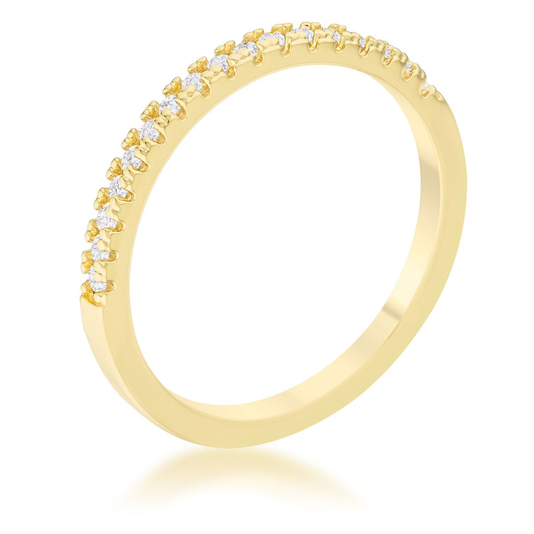 Rina 0.11ct CZ 14k Gold Delicate Band Ring