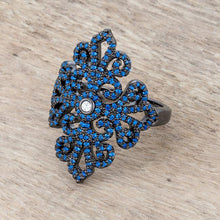Load image into Gallery viewer, Victoria 1.23ct Sapphire CZ Hematite Filigree Cocktail Ring