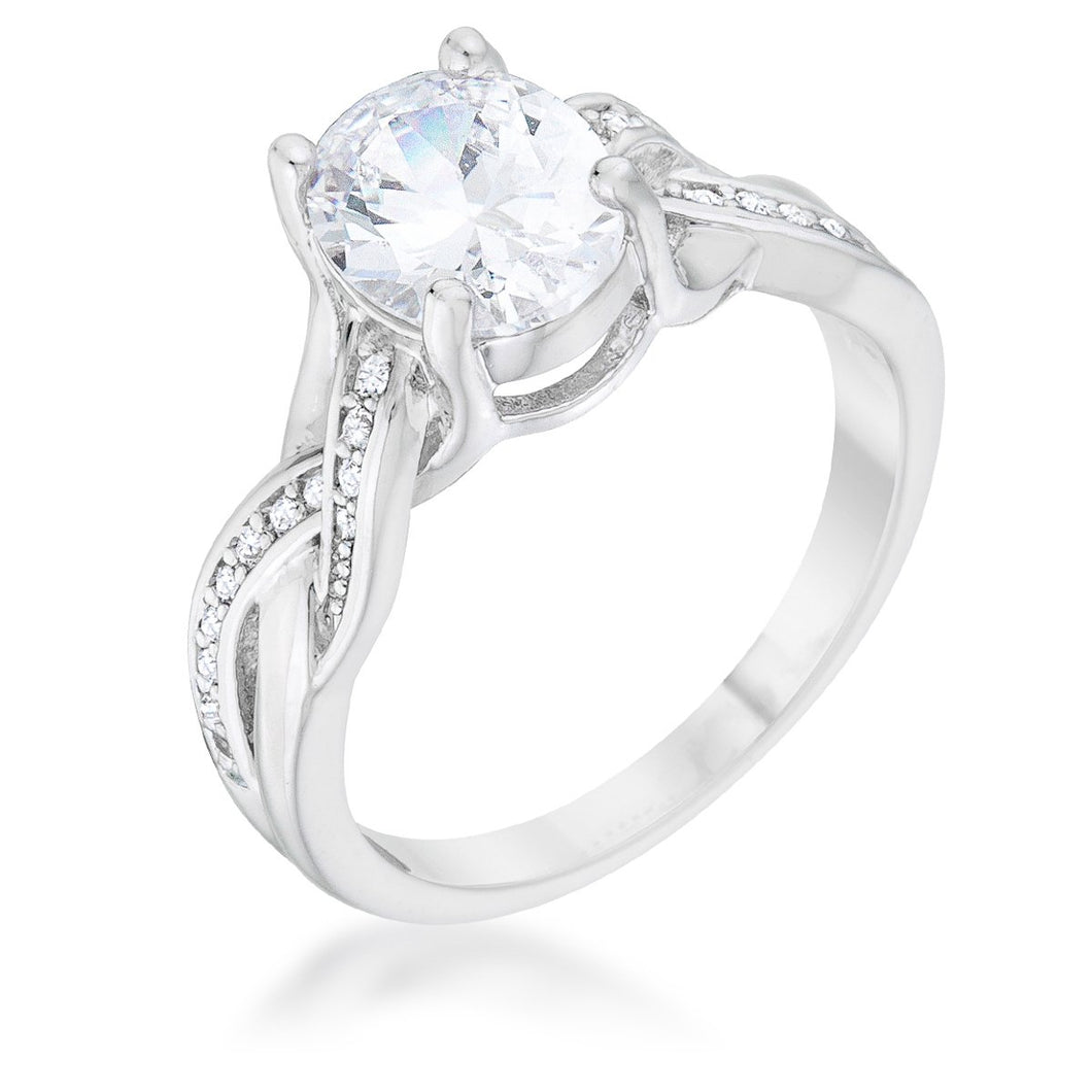 Justine 2ct CZ Rhodium Classic Oval Ring