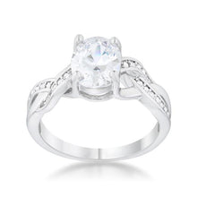 Load image into Gallery viewer, Justine 2ct CZ Rhodium Classic Oval Ring
