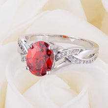 Load image into Gallery viewer, Classic 2ct Apple Red CZ Rhodium Plated Oval Ring