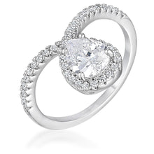 Load image into Gallery viewer, 1.5Ct Rhodium Chevron Ring With Clear CZ