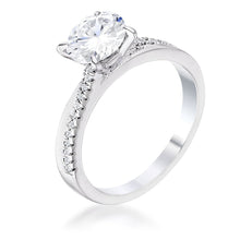 Load image into Gallery viewer, 1.4Ct Contemporary Dainty Rhodium Plated Clear CZ Engagement Ring