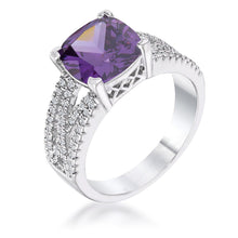 Load image into Gallery viewer, 3Ct Elegant Silvertone Criss-Cross Amethyst Purple CZ Engagement Ring