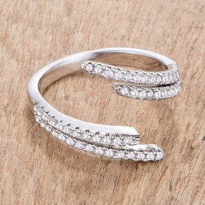 1.12Ct Delicate Rhodium Plated CZ Wrap Ring