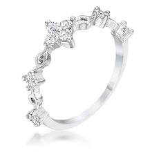 Load image into Gallery viewer, .24Ct Rhodium Plated Clear CZ Mini Floral Half Eternity Stackable Band