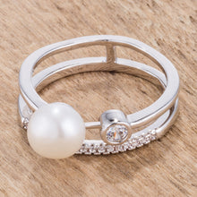 Load image into Gallery viewer, .15Ct Rhodium Plated CZ and Freshwater Pearl Contemporary Double Band Ring