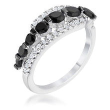 Load image into Gallery viewer, 1.06Ct Rhodium & Hematite Plated Graduated Black & Clear CZ Half Eternity Ring