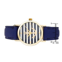 Load image into Gallery viewer, Navy Nautical Leather Watch
