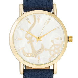 Navy Nautical Leather Watch