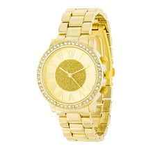 Load image into Gallery viewer, Roman Numeral Goldtone Watch With Crystals
