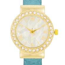 Load image into Gallery viewer, Fashion Shell Pearl Cuff Watch With Crystals