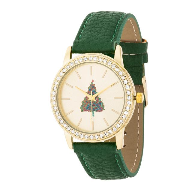 Gold Christmas Crystal Tree Watch With Green Leather Strap
