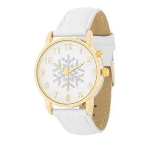Gold Holiday Tune Watch With White Leather Strap