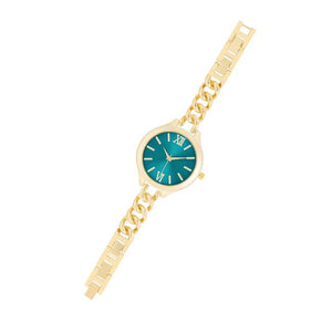 Gold Link Watch With Turqoise Dial