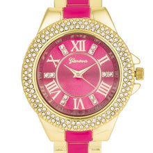 Load image into Gallery viewer, Gold Metal Cuff Watch With Crystals - Pink