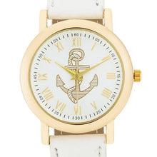 Load image into Gallery viewer, Natalie Gold Nautical Watch With White Leather Band