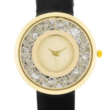 Load image into Gallery viewer, Gold Black Leather Watch With Crystals