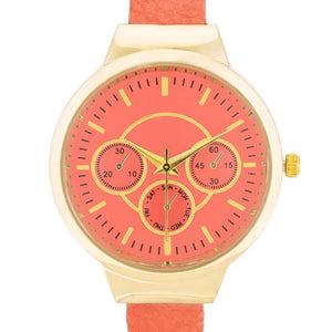 Reyna Gold Coral Leather Cuff Watch