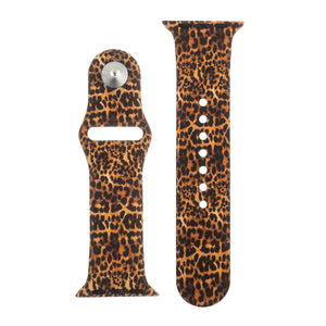 Leopard Print Silicone Sports Watch Band 38mm