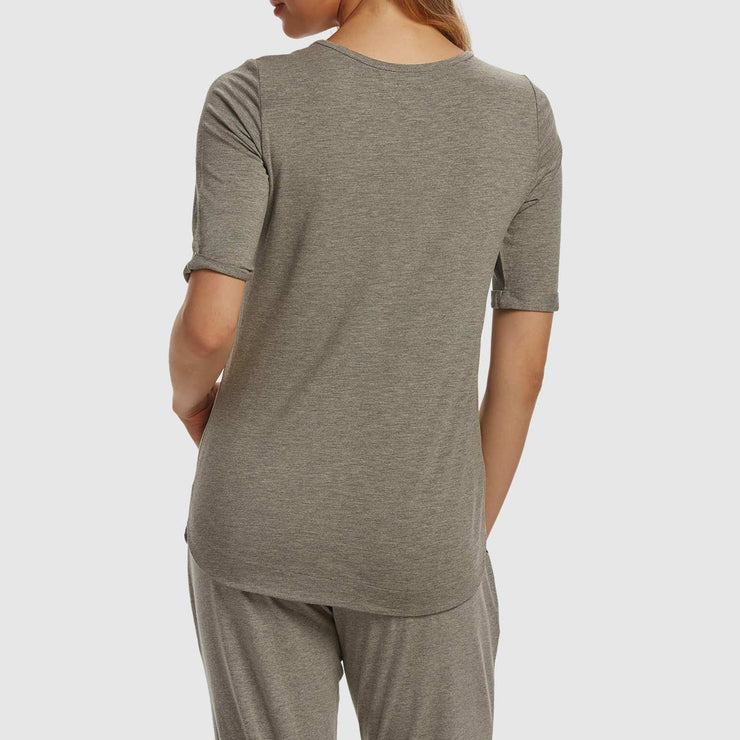 Scoop Neck Tee - Grey Melange
