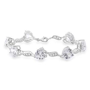 White Sapphire Bracelet with Heart and Round Shape