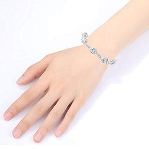 White Sapphire Bracelet with Heart and Round Shape Hand View