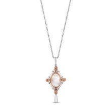 Load image into Gallery viewer, Enchanted Disney Fine Jewelry 14K Rose Gold over Sterling Silver with 1/10 cttw Diamond and Created Opal Belle Mirror Pendant