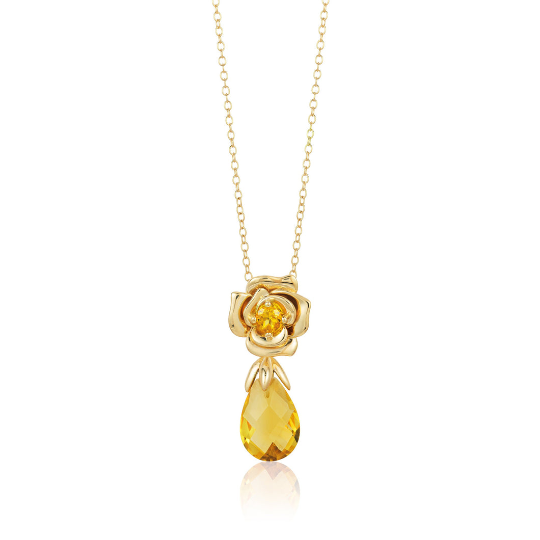 Enchanted Disney Fine Jewelry 14K Yellow Gold Plated Sterling Silver Belle Rose Citrine Briolite Briolite Pendant