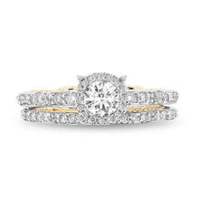 Load image into Gallery viewer, Enchanted Disney Fine Jewelry 14K White And Yellow Gold 1 1/10 Cttw Cinderella Bridal Set