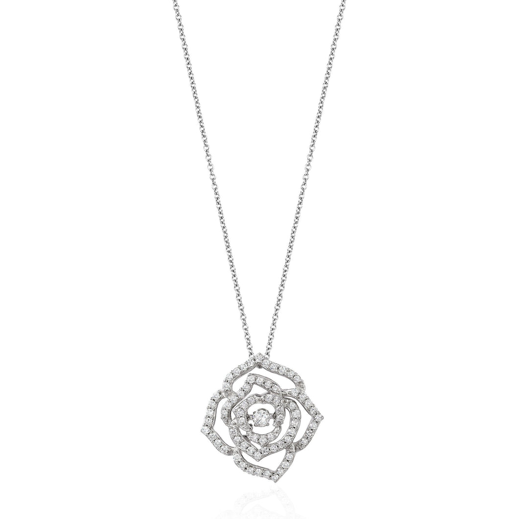 Enchanted Disney Fine Jewelry 14K White Gold 1/2Cttw Diamond Belle Rose Necklace