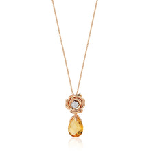 Load image into Gallery viewer, Enchanted Disney Fine Jewelry 14K Rose Gold with 1/20 cttw Diamond and Citrine Belle Rose Composite Pendant