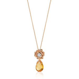 Enchanted Disney Fine Jewelry 14K Rose Gold with 1/20 cttw Diamond and Citrine Belle Rose Composite Pendant