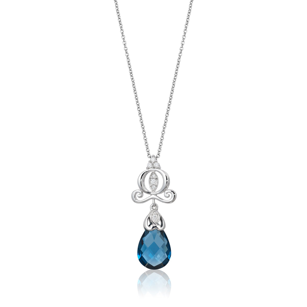 Enchanted Disney Fine Jewelry 14K White Gold with Diamond Accent with London Blue Topaz Pendant