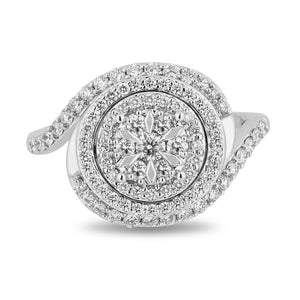 Enchanted Disney Fine Jewelry 14K White Gold with 3/4 CTTW Diamond Elsa Ring