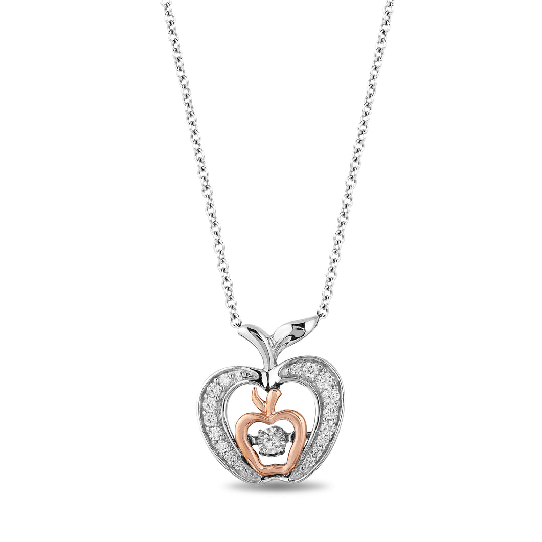 Enchanted Disney Fine Jewelry Sterling Silver and 10K Rose Gold with 1/5 cttw Snow White Apple Pendant