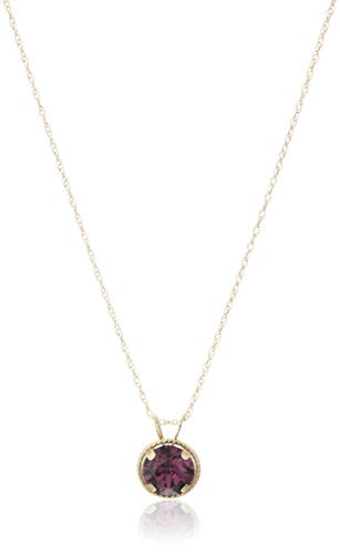 Jewelili 10K Yellow Gold Amethyst Crystal Pendant Necklace, 18