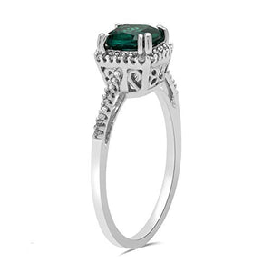 Jewelili 10kt White Gold 6mm Cushion Cut Created Emerald and 1/10cttw Natural White Diamond Halo Ring, Size 7
